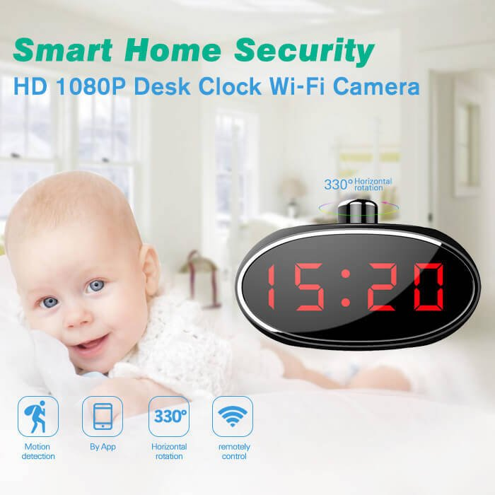 HD 1080P 330 Degree Desk Clock WIFI Hidden Cam with Motion Detection Push