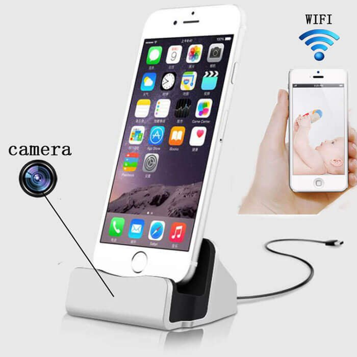 4K UHD 8MP iPhone Charging Dock WIFI Hidden Spy camera
