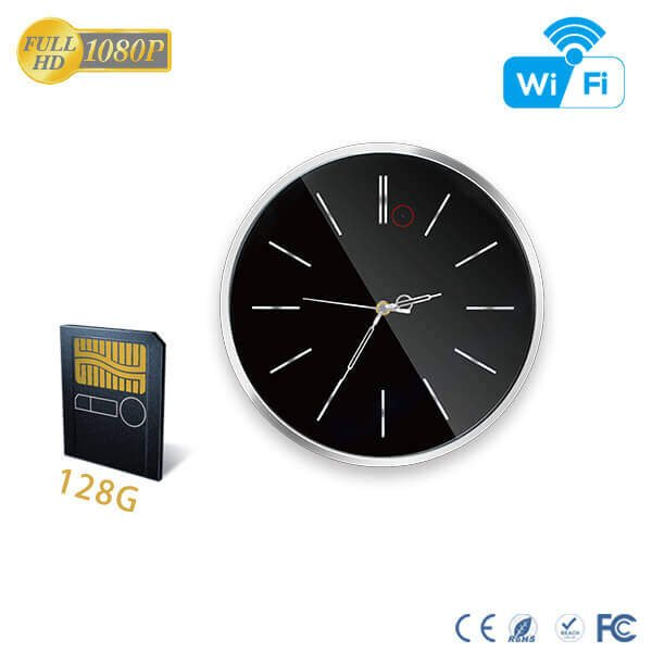 HD 1080P Spy Wall Clock WiFi Hidden Camera with 90 Degree